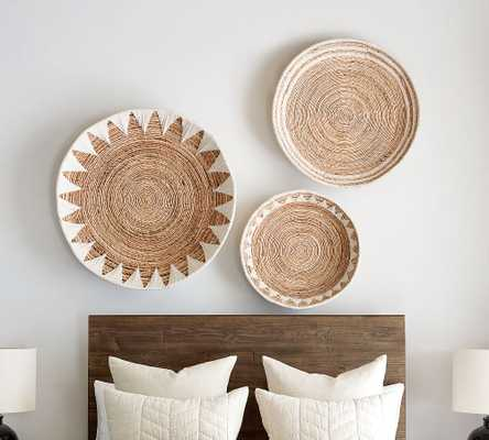 Sunny Handwoven Basket Wall Art, Natural/White - Set of 3 - Pottery Barn