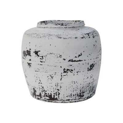 """Tyris White/Black 8.5"""" Indoor / Outdoor Earthenware Table Vase - Wayfair"""