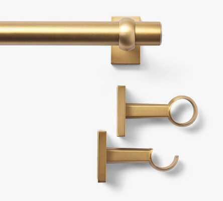 "Brass Curtain Rod & Wall Bracket, Small, .75"" diam. - Pottery Barn"