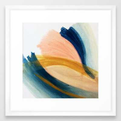 Slow As The Mississippi - Acrylic Abstract With Pink, Blue, And Brown Framed Art Print by Alyssa Hamilton Art - Vector White - MEDIUM (Gallery)-22x22 - Society6