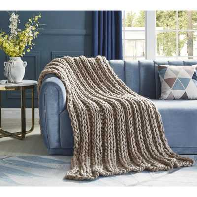 """INSPIRED HOME DECOR Vielkis Taupe Throw Cozy 100% Polyester 40""""x60"""", Brown - Home Depot"""
