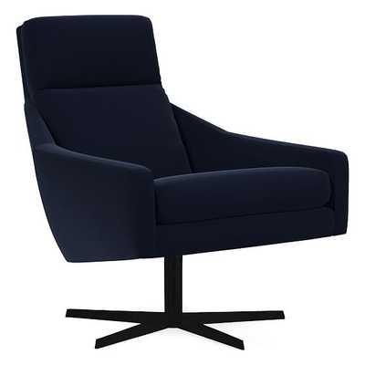Austin Swivel Chair, Poly, Distressed Velvet, Ink Blue, Antique Bronze - West Elm