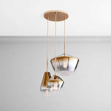 Sculptural Glass 3 Light Round Geo Chandelier, S-M-L Geo, Gold Ombre, Shade, Brass Canopy - West Elm