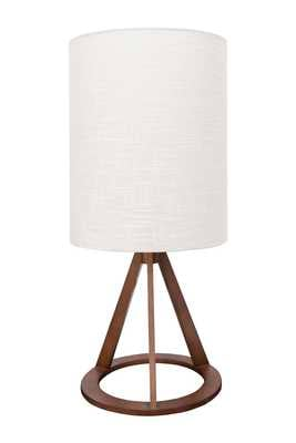 Geometric Wood Table Lamp with Linen Shade - Nomad Home