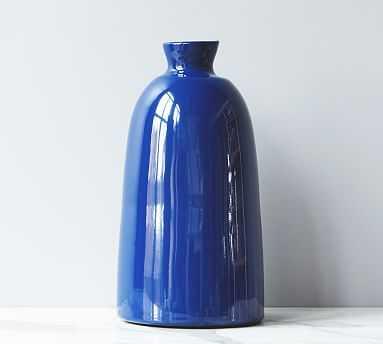 Artisanal Ceramic Vase, Large - Navy Blue - Pottery Barn