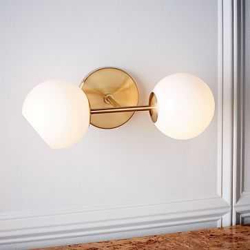Staggered Glass Sconce, Antique Brass/Milk, 2-Light, Set of 2 - West Elm