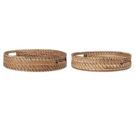 Simone Rattan Round Tray With Handles, Set of 2 - Pottery Barn