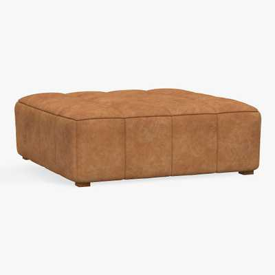 Baldwin Oversized Ottoman, Vegan Leather Caramel, MTO - Pottery Barn Teen