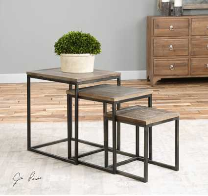Bomani Wood Nesting Tables Set/3 - Hudsonhill Foundry