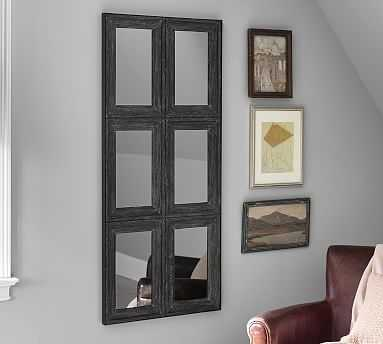 Aiden Large Mirror, 6 Pane, Charcoal - Pottery Barn