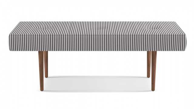 Mid-Century Bench | Black Ticking Stripe - The Inside