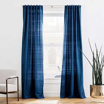 "Dupioni Silk Curtain, 48""x84"", Regal Blue, Unlined - West Elm"