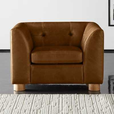 Kotka Tobacco Tufted Leather Chair - CB2