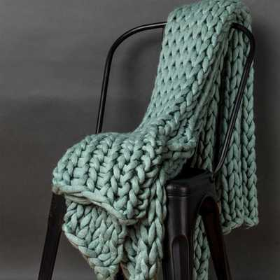AMERICAN HERITAGE Aqua Acrylic Chunky Knitted Throw, Blue - Home Depot