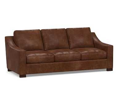 """Turner Slope Arm Leather Sofa 3-Seater 85.5"""", Down Blend Wrapped Cushions, Statesville Molasses - Pottery Barn"""