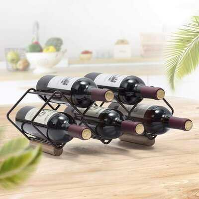 5 Bottle Tabletop Wine Bottle Rack in Black (stackable) - Birch Lane