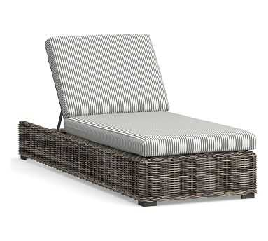 Huntington Single Chaise Lounge Cushion Slipcover, Sunbrella(R) Stripe; Bungalow Charcoal - Pottery Barn