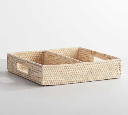 Tava Tray Woven, Whitewash, Small - Pottery Barn