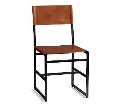 Hardy Leather Dining Chair, Bronze/Saddle Tan Leather - Pottery Barn