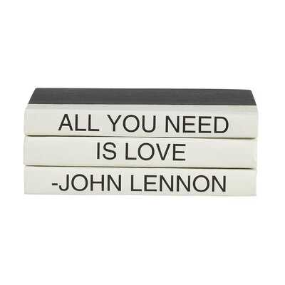 3 Piece All You Need Is Love Quote Decorative Book Set - Wayfair