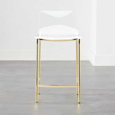 "Chiaro Clear Counter Stool 24"" Gold - CB2"