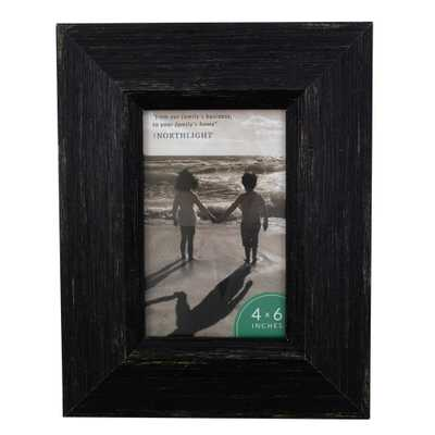 "Northlight 9.25"" Distressed Finish Rectangular 4"" x 6"" Photo Picture Frame - Black - Home Depot"