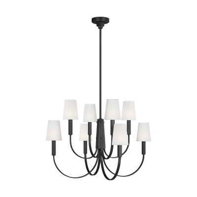 TOB by Thomas O'Brien by Generation Lighting Logan Shaded Tiered Chandelier Finish: Aged Iron, Size: Small - Perigold