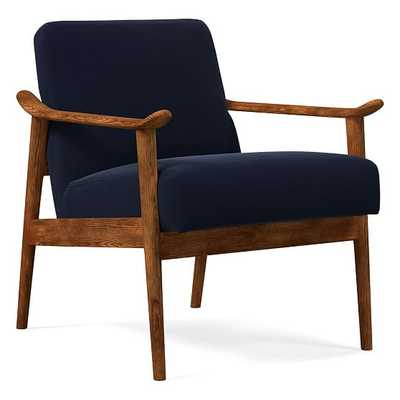 Midcentury Show Wood Chair, Poly, Distressed Velvet, Ink Blue, Pecan - West Elm