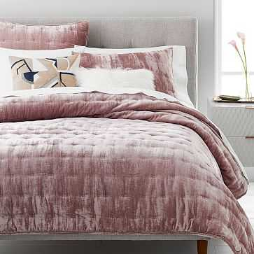 Lush Tack Stitch Quilt, King, Dusty Blush - West Elm
