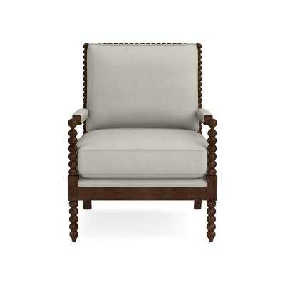 Spindle Chair, Standard Cushion, Performance Slub Weave, Light Gray, Natural Leg - Williams Sonoma