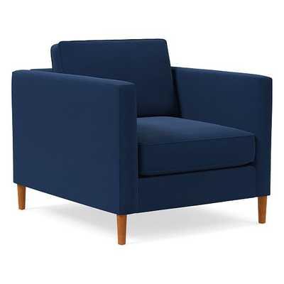 Harris Loft Chair, Poly, Astor Velvet, Ink Blue, Pecan - West Elm