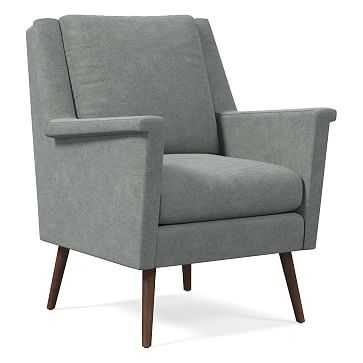 Carlo Mid-Century Chair, Poly, Distressed Velvet, Mineral Gray, Pecan - West Elm