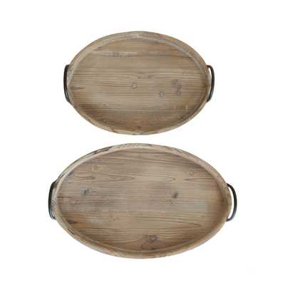Round Decorative Wood Trays with Metal Handles (Set of 2 Sizes) - Nomad Home