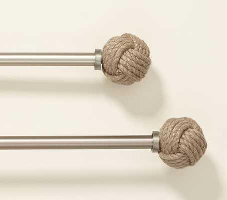 "Metal Rod, 60-108"" & Rope Finial Set Natural - Pottery Barn Kids"