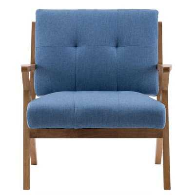 Accent Chair Upholstered Lounge Arm Chair Single Sofa Seat Solid Wood Frame Leisure Reading Chair In Denim Blue - Wayfair