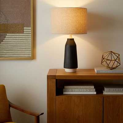 Roar & Rabbit Ripple Ceramic Table Lamp, Tall, Narrow Black - West Elm