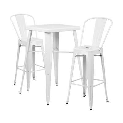 Drachten Square Indoor and Outdoor 3 Piece Bar Height Dining Set - Wayfair