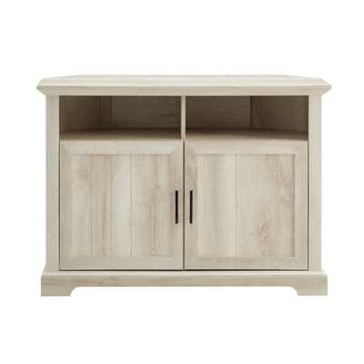 "44"" Grooved Door Corner TV Console White Oak - Saracina Home - Target"