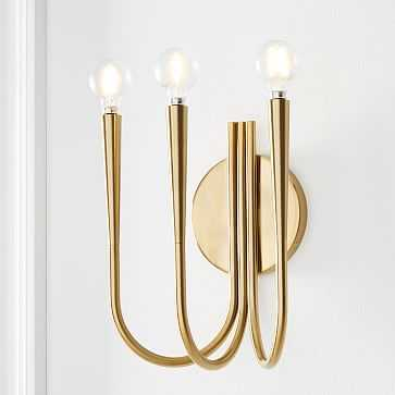 Swoop Arm 3 Lights Sconce, Brass, Individual - West Elm