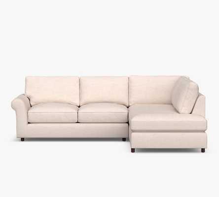PB Comfort Roll Arm Upholstered Right Sofa Return Bumper Sectional, Box Edge Down Blend Wrapped Cushions, Jumbo Basketweave Pebble - Pottery Barn