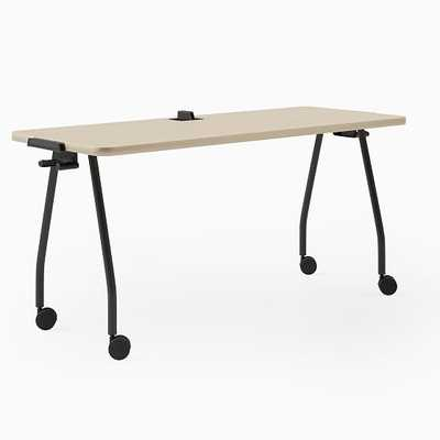 "Steelcase Verb Rectangular Table, 30""x60"", Wheels, Center Board, Winter on Maple, Black - West Elm"