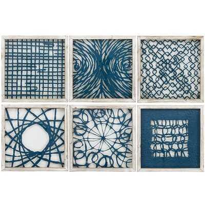 'Blue Natural Element' - 6 Piece Picture Frame Graphic Art Print Set on Glass - Wayfair
