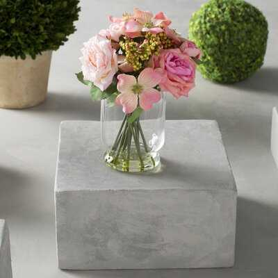 Rose and Berry Floral Arrangements in Decorative Vase - Birch Lane