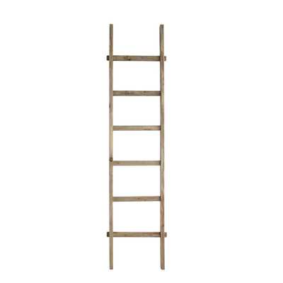 "Rustic 76.75""H Decorative Fir Wood Ladder with 6 Rungs - Nomad Home"