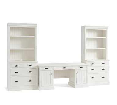 """Aubrey 5-Piece Office Suite, Lateral File Cabinet, 140"""" Wide - Pottery Barn"""
