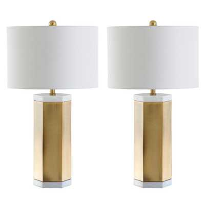 Safavieh Alya 28 in. White/Brass Gold Table Lamp (Set of 2) - Home Depot