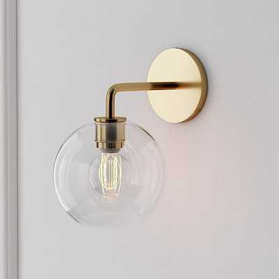 Sculptural Sconce, Globe Mini, Clear, Antique Brass - West Elm