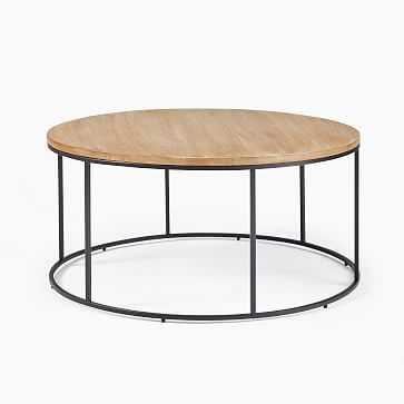 Streamline Round Coffee Table, Whitewashed Mango Wood, Antique Bronze - West Elm