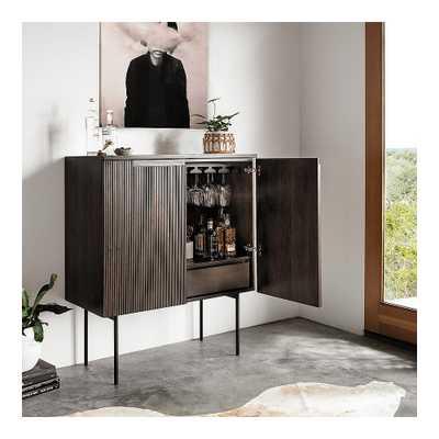 "Morrison 40"" Wide Warm Natural Mindi 2-Door Bar Cabinet - Style # 89C50 - Lamps Plus"