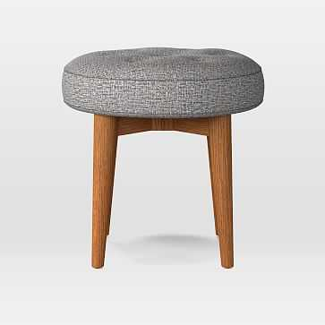 Mid-Century Upholstered Round Bench, Deco Weave, Feather Gray, Pecan - West Elm